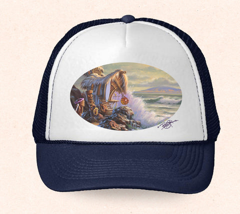 Navy and white Hawaii trucker hat featuring Tom Thordarson artwork of a cozy tiki hut next to the ocean