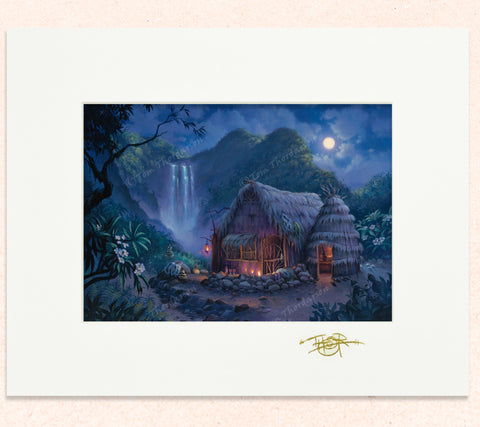 Matted print of Our Lil' Grass Shack with gold leaf Thor signature