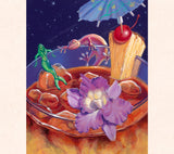 Tom Thordarson's gecko art, 'Love on the Rocks,' depicts a gecko falling hopelessly in love with a mermaid atop a magical Mai Tai.
