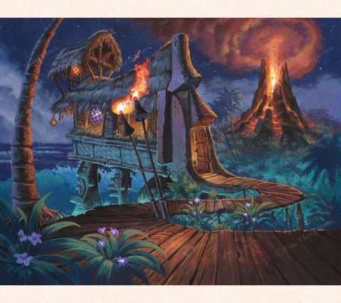 In this Tom Thordarson fantasy painting, an imposing Maoi guards the entrance to a tiki bar set above a lush tropical jungle next to an active Hawaiian volcano.