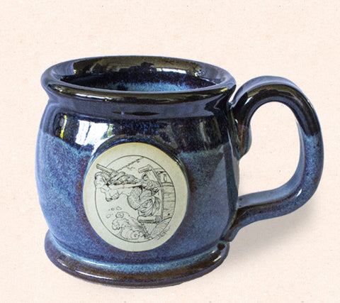 Collectible Thor ceramic tall coffee mug by Tom Thordarson features an original artwork 'Maiden Mast' engraved with a mermaid emblem.
