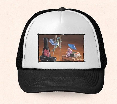 Black and white Hawaii trucker hat featuring Tom Thordarson artwork of colorful geckos at a sushi bar