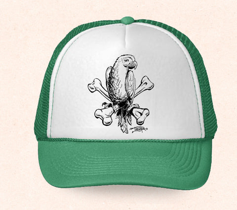 Green and white Hawaii trucker hat featuring Tom Thordarson's black and white artwork of a tropical parrot sitting on crossbones.