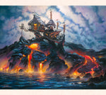 Fantasy artist Tom Thordarson paints a cozy surfing hut perched atop an ative volcano, inspired by the Hawaiian goddess Pele.
