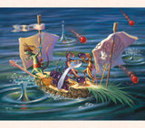 In this whimsical art by Tom Thordarson, cocktail napkins and chopsticks become masts and sails and a pineapple becomes a galleon for its gecko crew.