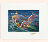 Matted print of Purple Projectiles Off Port Side with gold leaf Thor signature