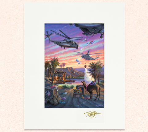 Matted print of Sea Stallion Helo-Ha with gold leaf Thor signature