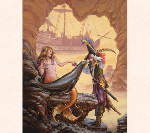 Fantasy Artist Thor depicts a playful mermaid, her pet seal and a gullible pirate inside a foggy rock cove.