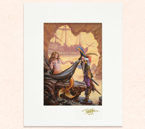 Matted print of Sealed With a Kiss with gold leaf Thor signature