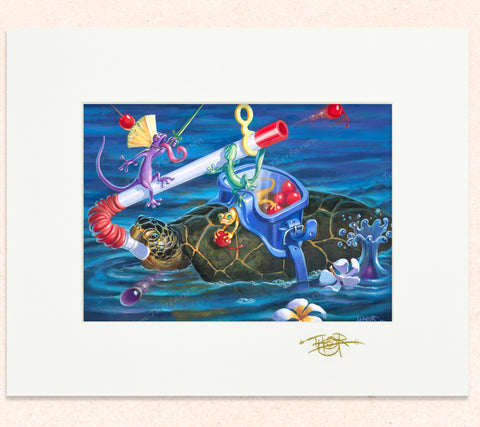 Matted print of Sub Turtle Cherry Hurdle with gold leaf Thor signature