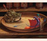 In this whimsical gecko art, Tom Thordarson, imagines a bull fight on a cork-topped bar tray with a gecko as the matador and a bullfrog as the bull.
