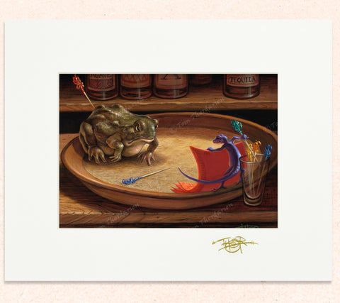 Matted print of Table Top Matador with gold leaf Thor signature