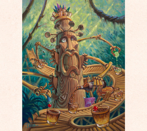 Tiki artist Tom Thordarson imagines a six-armed, 7-foot tall Tiki built like a wooden geared clock inside. It's sole purpose? To make the greatest Mai Tais on the Hawaiian Islands!