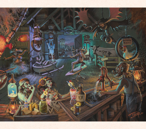 In this whimsical piece, Tom Thordarson imagines an old barn converted into a tiki bar filled with repurposed farming junk.