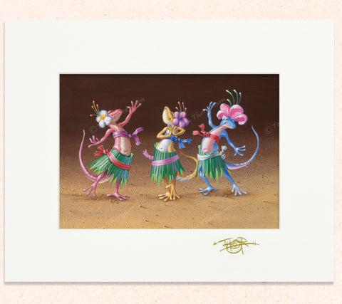 Matted print of Twister Tie Hula with gold leaf Thor signature