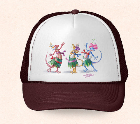 Maroon and white Hawaii trucker hat featuring Tom Thordarson's arwork of hula dancing geckos