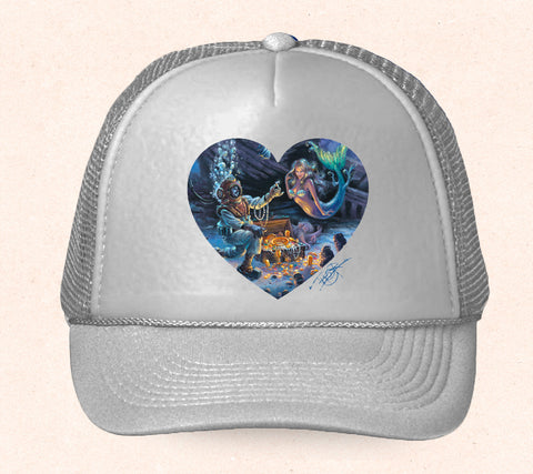Gray Hawaii trucker hat featuring Tom Thordarson's artwork of a diver and a mermaid.