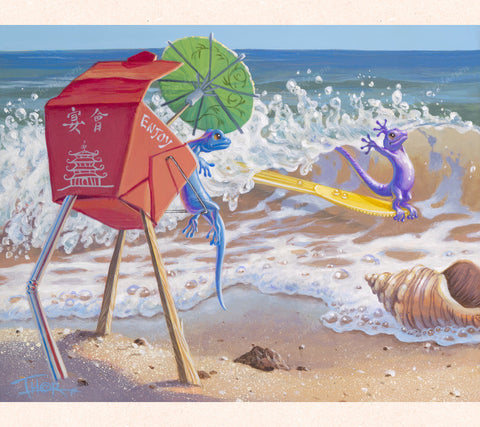 In the left panel of his triptych series, Tom Thordarson paints a sporty gecko using a discarded plastic utensil as surfboards while a gecko lifeguard seated in an old Chinese food box looks on.