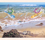 In the center panel of his triptych series, Tom Thordarson paints sporty geckos using discarded plastic utensils as surfboards.