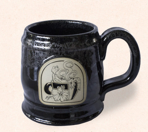 Collectible Thor ceramic coffee mug by Tom Thordarson features an original artwork 'Hawaiian Steam' engraved with gecko emblem.