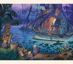 Tiki artist Tom Thordarson paints a creative scene of tikis around a mysterious magical inlet at dusk.