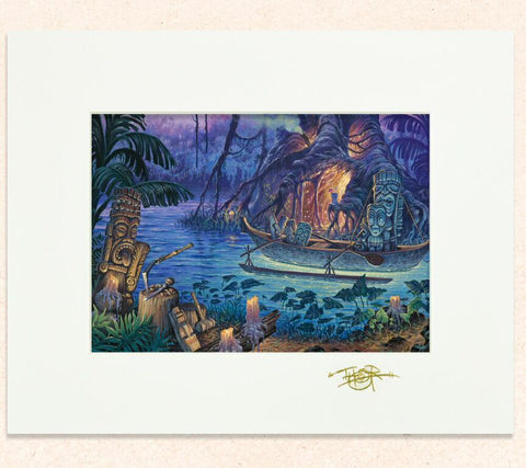 Matted print of Magik of the Tiki Maker with gold leaf Thor signature
