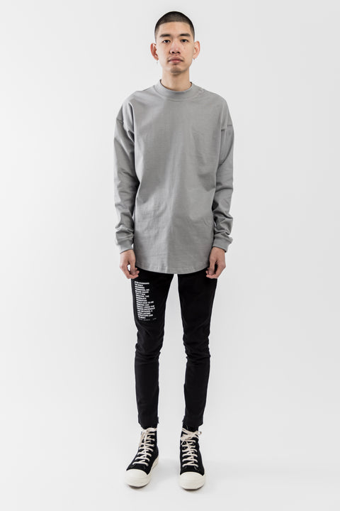 GREY LONGSLEEVE MOCK NECK TEE SHIRT