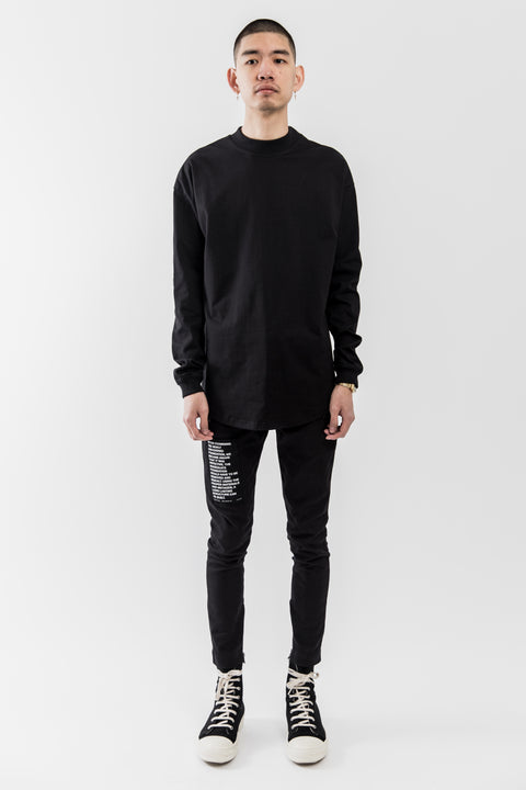 BLACK LONGSLEEVE MOCK NECK TEE SHIRT