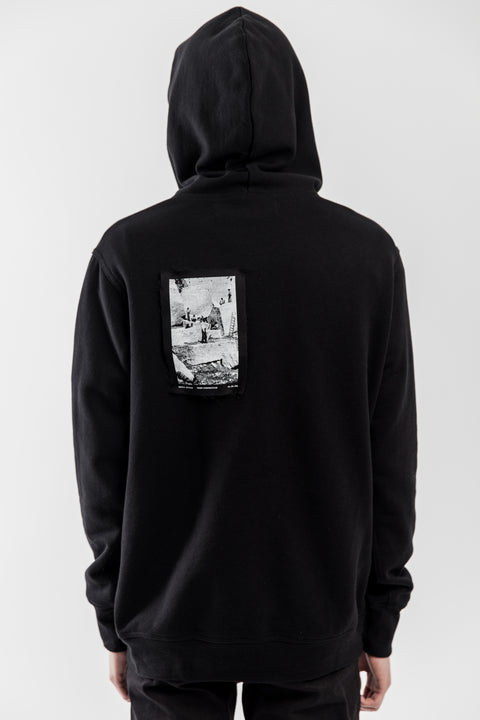 BLACK FRENCH TERRY PATCHWORK HOODIE