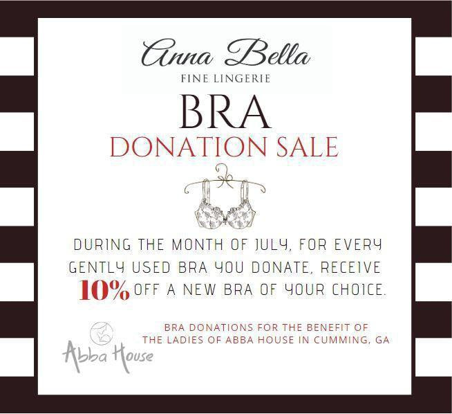 July Bra Donation Sale-Anna Bella Fine Lingerie