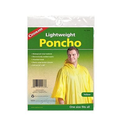 Coghlan's Lightweight Hooded Poncho Yellow Raincoat Camping Hiking Hunting 9268