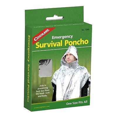 Coghlan's Emergency Survival Hooded Rain Weather Poncho- Camping Hiking Wet Aid
