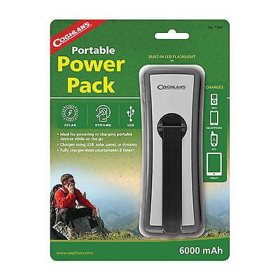 Coghlans Portable Power Charger Phone Camera Tablet USB Solar Dynamo #1560