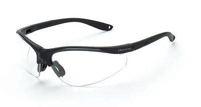 Radians Crossfire Brigade Tactical Safety Glasses Clear Lenses Black Frame 1734