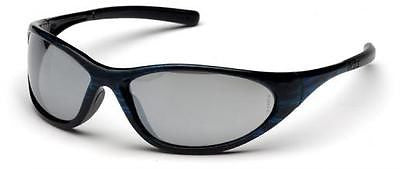 Pyramex Zone II Blue Wood Silver Mirror Lens Safety Glasses SBW3370E Job Eyewear