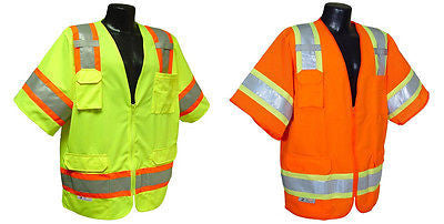 SV63 Two Tone Surveyor Class 3 Safety Job Vest ANSI/ISEA 107-2010 Construction
