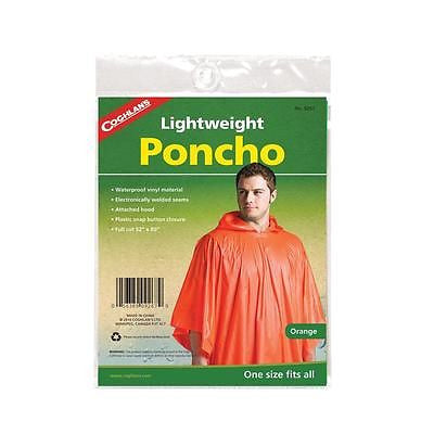Coghlan's Lightweight Hooded Poncho Orange Raincoat Camping Hiking Hunting 9267