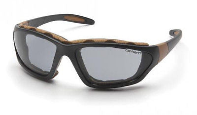 Carhartt Carthage CHB420DTP Gray Lens Anti Fog Safety Glasses Black Tan Frames