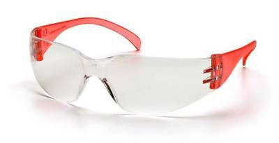 Pyramex Intruder SR4110S Clear Lens Red Temples Job Work Safety Glasses Eyewear