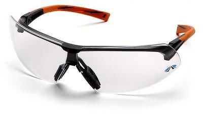 Pyramex Onix SO4910S Clear Lens Orange Temple Safety Glasses Job Sports Eyewear