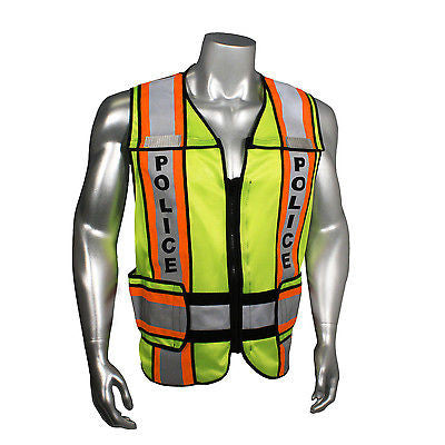 Police Law Enforcement Traffic Breakaway Green Reflective Safety Vest Radians