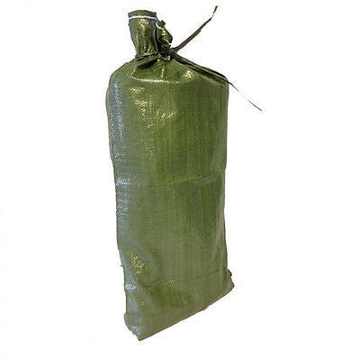 "100 Green Sandbags w/ ties 14""x26"" Bags- Flood Erosion Barriers Military Rescue"