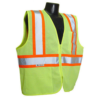 Construction Work Safety Vest w/Two-Tone Trim SV22-2 Economy Class 2 Size Large