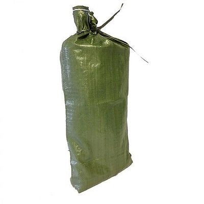 10 Green Sandbags w/ ties 14x26 Sandbag,Bags,Sand Bags- Flood Erosion Barriers