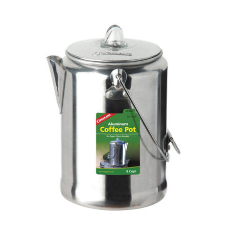 Coffee Pot 9 Cup Capacity Polished Aluminum w/Percolator Camping-Coghlans 1346