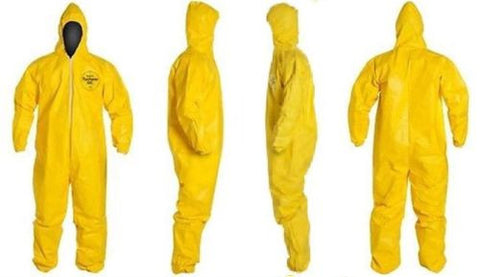 Dupont Tychem Tyvek Hazmat Suit Hooded QC QC127 Chemical Yellow Coveralls Large