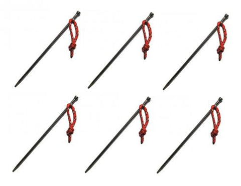 6 Pack Vargo Titanium Nail Stakes With Cord Ultralight T120