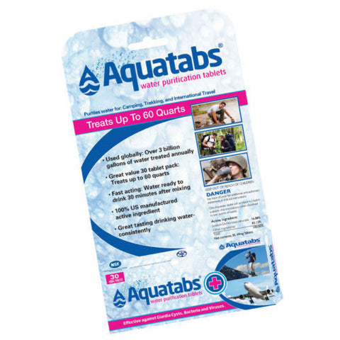 Aquatabs 30 Water Purification Tablets Home Camping Drinking Treatment Safety