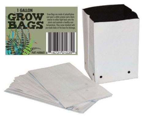 GROW BAGS Poly Plastic Black & White 1/2/3/5/7/10 Gallons Planting Seed Garden