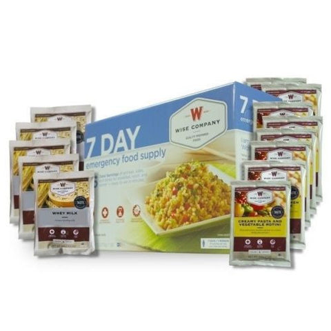 Wise 7 Day Emergency Food Supply Kit 1 Person Entrees Breakfasts & Milk- Camping